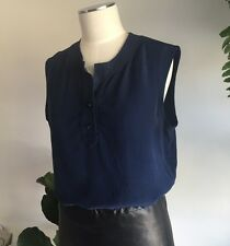 Vintage CELINE Silk Button Up Navy Sleeveless Blouse Made In France