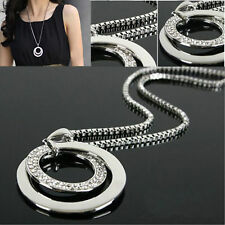 Fashion Women Crystal Rhinestone Silver Plated Long Chain Pendant Necklace