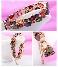 19cm Colorful Zirconia Party Bracelets Women's Rose Gold Filled Bangle Jewellery