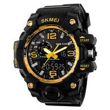 Golden Waterproof Date Week Silicone Digital Analog Alarm Mens Sport Wrist Watch