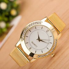 Fashion Women Crystal Golden Stainless Steel Analog Quartz Bracelet Wrist Watch