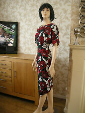 10 PETITE 70'S MIDI PENCIL DRESS SPLIT FRONT FLORAL RED GREEN SUMMER WEDDING