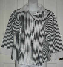 MARKS AND SPENCER Grey Mix Stripe Button Fasten Polyester/Cotton Shirt Size14/42