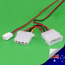 3pin Fan Female to 4pin Molex Male + Female Adapter Cable - NEW (N061)
