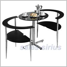 Dining Table Set 2 Chairs Bistro Black Breakfast Room Coffee Kitchen Wood Seats