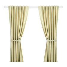 Ikea Beige Taby Pair Of Curtains 145 x 165cm With Tie Backs