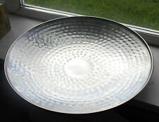 Large Stainless Steel Hammered dimpled platter plate fruit Bowl Metal Chrome 37