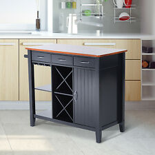 HOMCOM Kitchen Island Storage Cabinet Wood Top Workstation Drawers w/ Wine Rack