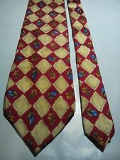 Men's Vintage Silk Tie in Red and Gold Floral Geometric Pattern