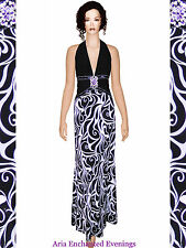 Sz 18 NEW Sexy Black & White Jersey Halter E~P Evening Gown 09210