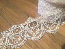 Lace Ribbon with heavy embroidered detail scalloped edge lace *70mm wide* WHITE