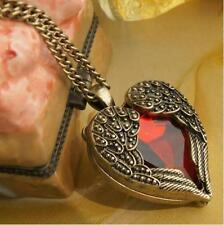 Women Vintage Red Heart Crystal Angel Wings Pendant Long Chain Necklace Jewelry