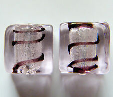 30pcs 10x6mm Silver Foil Flat Square Glass Beads - Pale Pink