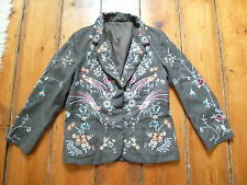 KATE MOSS GREY FLORAL EMBROIDERED JACKET, 10, TOPSHOP