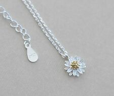 925 Sterling Silver Necklace with Pendant Golden Daisy