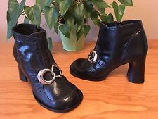 Ladies Vintage Shellys black leather ankle boots buckle fronts UK 6 EU 39 NEW