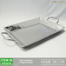 Hammered steel silver christmas gift decorative LARGE serving breakfast tray