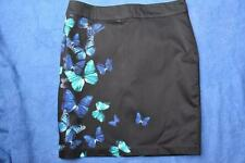 KATIES Size 14 Straight Butterfly PRINT Sateen Skirt NEW RRP$49.95 .STRETCH.