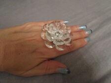 Ring Blume Strass Modeschmuck Verstellbar Klar/Transparent Solitär Kunststoff