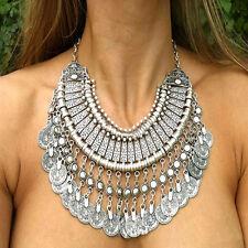 Bohemian Gypsy Festival Turkish Coin Collar Choker Bib Necklace Chain Statement