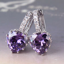Fascinating Jewelry!18k white gold filled purple Swarovski crystal hoop earring