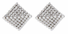 CLIP ON EARRINGS - silver plated stud earring with pearls & crystals - Betsy S