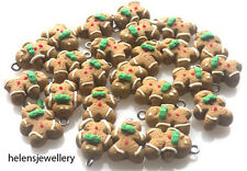 25 GINGERBREAD MEN CHARMS - POLYMER FIMO BEADS BEAUTIFUL - FREE P&P