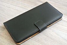 For Google Nexus 6P Black Genuine Leather Business Wallet Flip Case Cover Stand