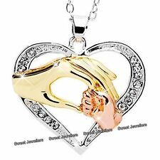 XMAS GIFT FOR HER Mother & Baby Hand Crystal Heart Necklace Love Mum Child Women