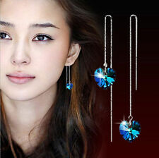 Long Pull Through 925 Sterling Silver Dangle Earrings Blue Crystal Heart Love