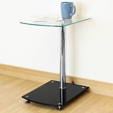 Black & Clear Glass Side/End/Sofa Table Lounge/Bedroom/Living Room Lamp Stand