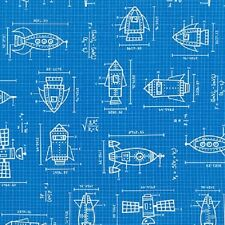 Robert Kaufman Cotton Fabric. Spaced Out. Rocket Blueprints in blue. By the FQ