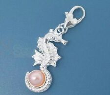 SILVER & PINK PEARL SEAHORSE CLIP-ON CHARM FOR BRACELETS  - NEW