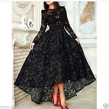 High Low Black Lace Wedding Evening Dress Long Sleeves Party Prom Gown Custom