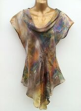 PRINCIPLES Floaty Silk Top Size UK 10 Waterfall Front WORN ONCE