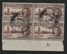 Barbados 1946 Victory 3d SG263a Kite flaw variety fine used on block 4 stamps