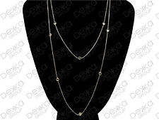 925 Sterling Silver Long Necklace Simulated Diamonds By The Yard