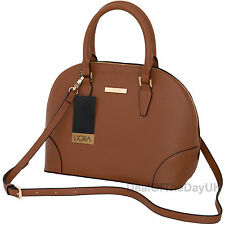 Liora Bugatti Designer Handbag Grab Bag Tan Shoulder Retro Vintage PU Leather
