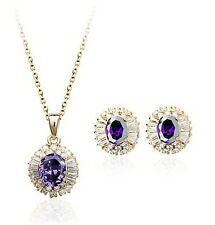 18K ROSE GOLD PLATED & GENUINE CZ & AUSTRIAN CRYSTAL NECKLACE AND EARRING SET