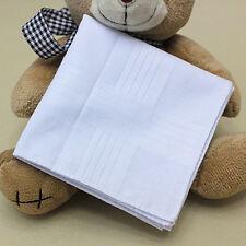 10pcs White Handkerchiefs 100% Cotton 30cm Square Soft & Washable Hankie Hanky