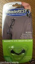READEREST Magnetic Eye-Glass Holder BLACK Stainless Steel NEW!!