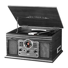 Vintage Record Player With Speakers Vinyl Turntable Radio Cassette Cd Player