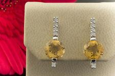 Schmuck Moderne Citrin Ohrstecker mit Brillanten in 585er Weißgold 14 Karat