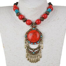 Wood Beads Chain Tibetan Elegant Red Gem Gold Plated Fringe Pendant Necklace