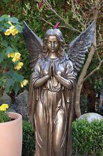 Großer In Outdoor Engel betend Sockel bronze 92 cm Angel Figur Garten Grab Neu