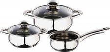 Kaiserhoff 5 Piece Set Polished Stainless Steel Pots & Pan Set With Glass Lids