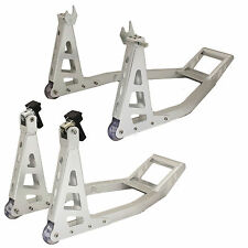 RYDE MOTORCYCLE ALUMINIUM ALLOY FRONT & REAR/BACK PADDOCK STANDS SET/KIT BIKE