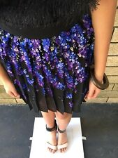 =STUNNING= PINKO BLACK Embellished Top Blue Sequin Party Pleated Dress Skirt AU8