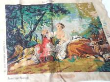 VINTAGE 2/3 WORKED TAPESTRY CANVAS ROMANTIC PASTORAL SCENE LA MUSETTE NO YARN