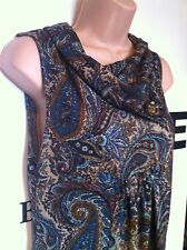 APRICOT Blue Paisley Print Pattern Short Tunic Dress or Top Ladies Size Small